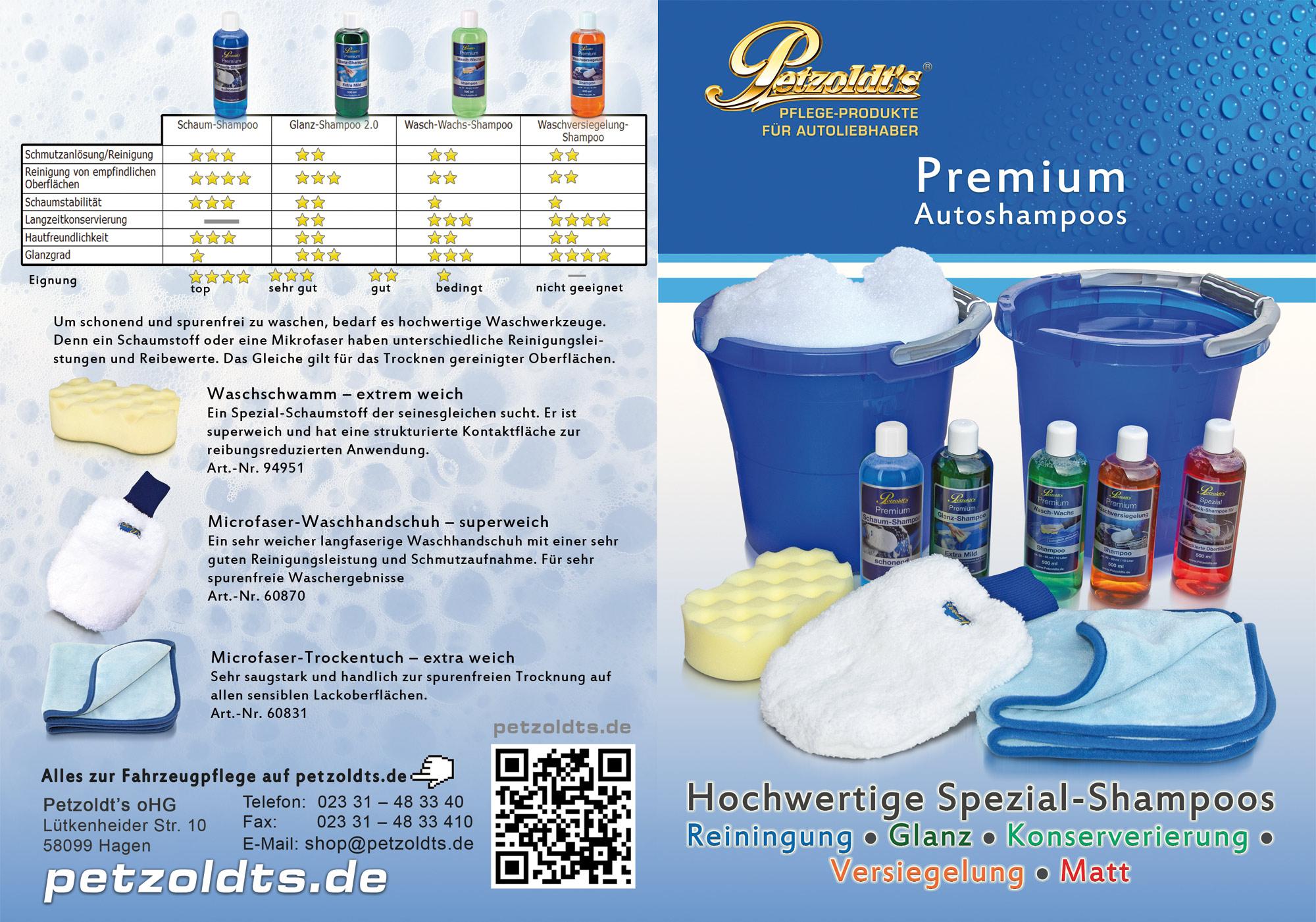 Petzoldts Schaum-Shampoo, zur lackschonenden Autowäsche