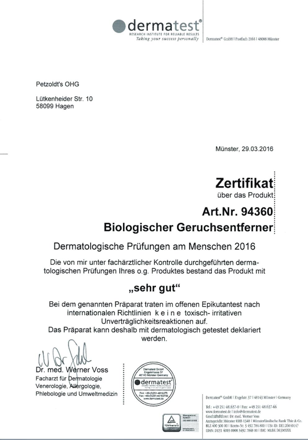 Biologischer Geruchsentferner, Petzoldts