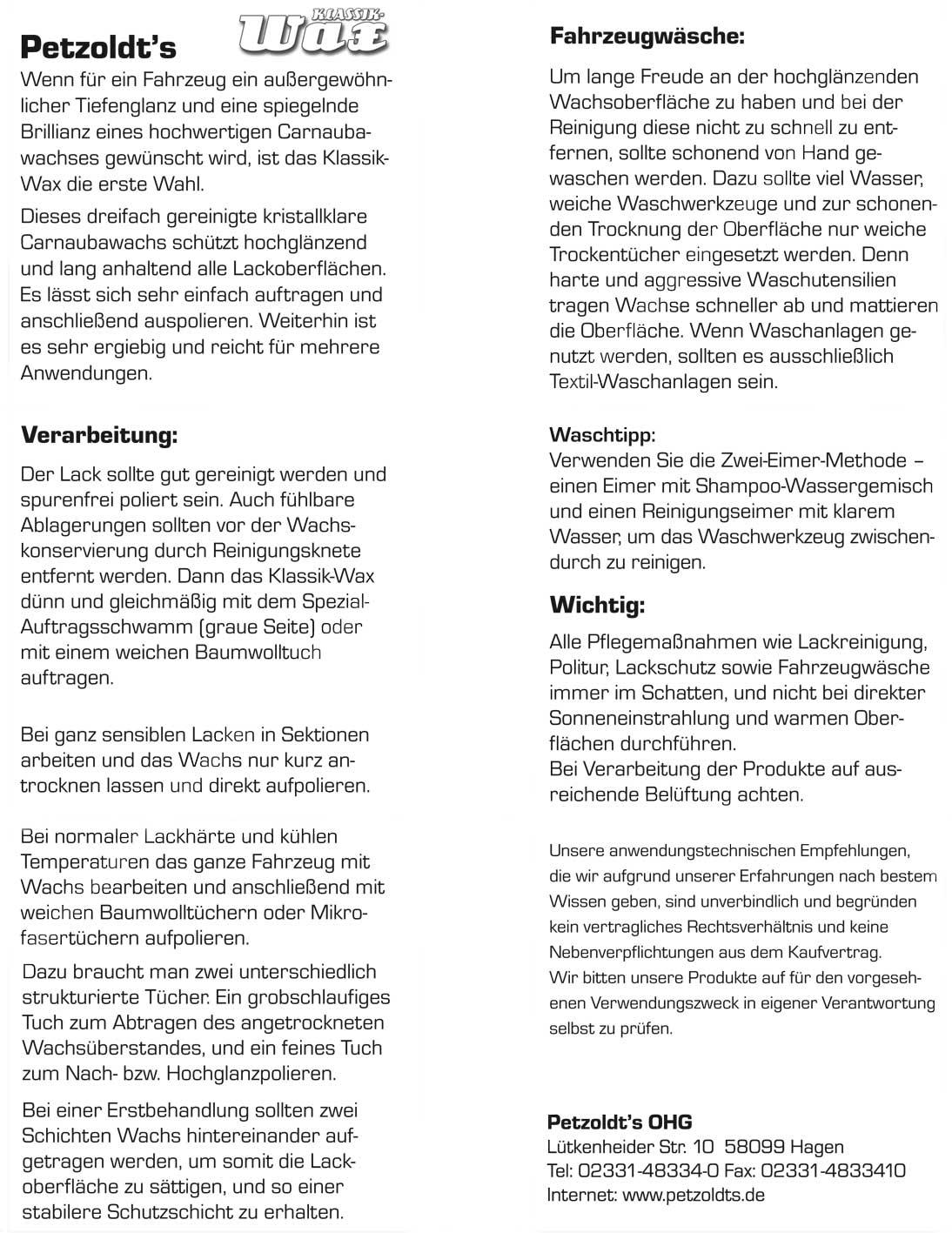 Petzoldt\'s KLASSIK-Wax, Autowachs mit Carnaubawachs