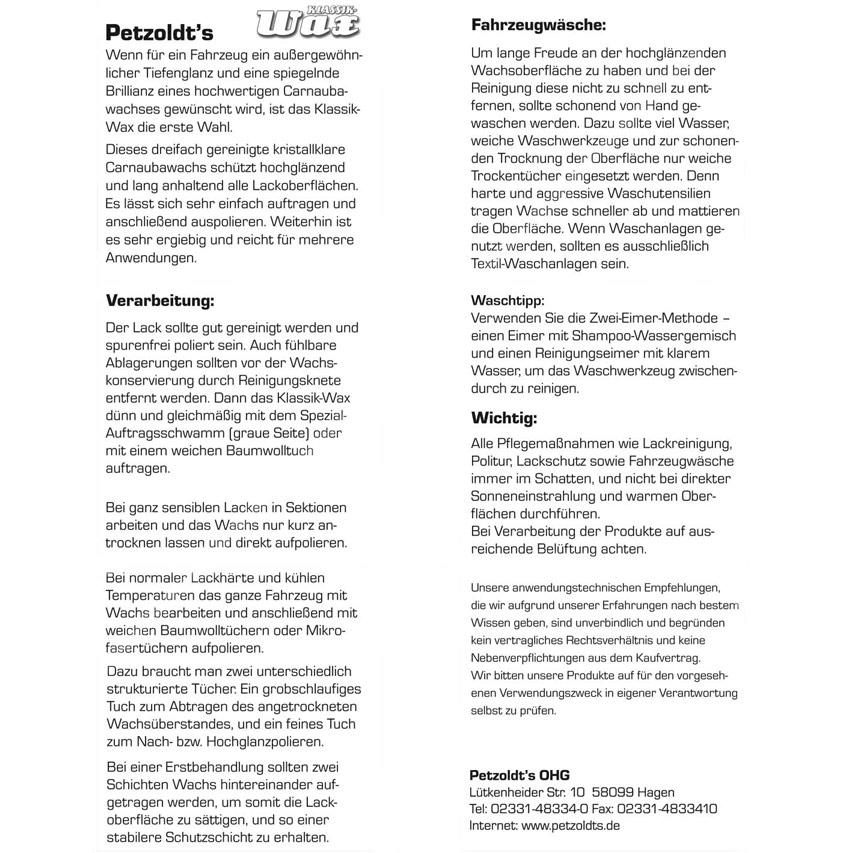 Petzoldt\'s Premium Tiefenglanz Set, Wax und Glanzpolitur